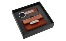 Acura Engraved Brown Leather Keychain And Wallet/Credit Card Holder Set