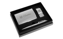 Cadillac Satin Money Clip, Card Case, Ball Pen Gift Set In Grey Deluxe Box