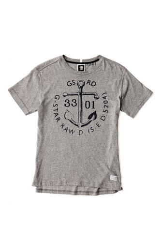 [Sample] G-STAR, grey tee shirt w/ black anchor print