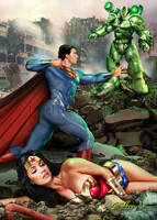 Claudio Aboy Superman Wonder Woman -vs- Lex Luthor Signed Studio Print