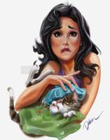 Cat Fever Sick Kitty Signed Print Cris Delara