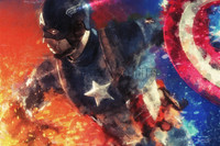 Captain America Offense Signed Print Luster Daniel Murray