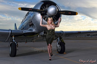 Wings of Angels Malak Pin Up Caitlin Litzinger and the T6 Texan WWII Plane