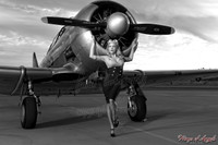 Wings of Angels Malak Pin Up B&W Print Caitlin Litzinger and the T6 Texan