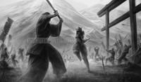 Battle Scene Signed Print Warren Louw