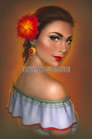 Mexican Girl Signed Print Warren Louw