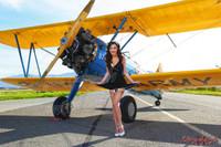 Wings of Angels Jessie in a Short Blue Dress Stearman Biplane Malak