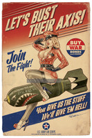 Let's Bust Their Axis Signed Pin Up Print Greg Reinel