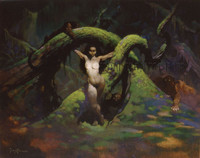 Cat Girl Print Art by Frank Frazetta
