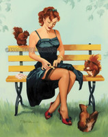 Nuts for You Vintage Style Pin Up Signed Print Stephenson