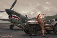 Wings of Angels Series Michael Malak Jessamyne WWII P-40E Warhawk & Jeep