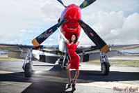 Malak Wings of Angels Jenn Red Dress WWII P-51D Mustang