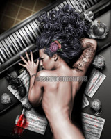 "Pete Tapang ""Ex Dono Dei"" Piano Gun Pin Up Girl Art Nude Hand Signed Print 11x14"