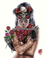 "Pete Tapang ""Dia de los Muertos 3"" Sugar Skull Pin up Hand Signed Print 11x14"