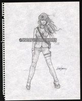 Keith Garvey Pin Up Girl Art Original Sketch 001