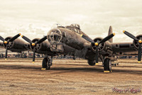 Wings of Angels Malak WWII Plane Vintage B-17 Flying Fortress in Sepia
