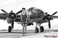 Wings of Angels Michael Malak Print Sarah Barton at the WWII B-25J Mitchell B&W
