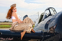 "Wings of Angels Michael Malak Pin Up 3 Kacie Marie ""Cat Flight"" WWII F4F Wildcat"