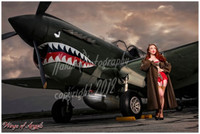 Wings of Angels Michael Malak Pin Up Jessamyne Giclee B WWII P-40E Warhawk