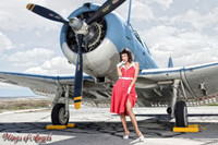 Wings of Angels Michael Malak Giclee Pin Up Nina Red Dress WWII SBD-4 Dauntless