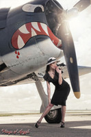 Wings of Angels Michael Malak Pin Up Print of Victoria Elder at the Prop of the WWII Hellcat
