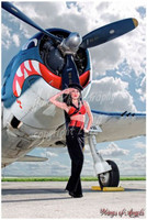 Wings of Angels Michael Malak Pin Up Print of Victoria Elder and the WWII F6F-5 Hellcat