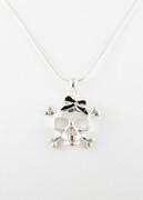 Black Bow Skull Necklace
