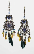 Blue Flower Chandelier Earrings with Golden Nuggets & Green Feather Drops