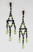 Peridot Green Bohemian Glass Beaded Chandelier Earrings