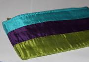 Tri-Color Silk Cosmetic Bag / Pouch