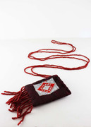 Embroidered Burgundy Pouch Necklace with Fringe
