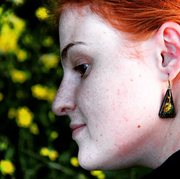 Yellow Hand Painted Earrings