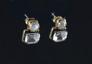 Carolina Bohemian Glass Studs Earrings - Crystal & Opal