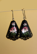 Russian Hand-Painted Black Earrings with Pink Flowers
