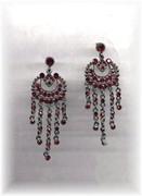 Rhinestone Red Ruby Glam Chandelier Earrings