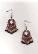 Red Indian Fringe Chandelier Earrings