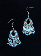 Turquoise Indian Fringe Chandelier Earrings