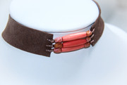 Brown Suede Choker with Coral Salmon Colored Beads