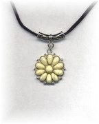 Ivory Flower Pendant Necklace on a Black Cord