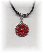 Red Flower Pendant Necklace on a Black Cord