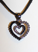 Black Heart-in-Heart Rhinestone Necklace