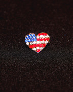 Small Rhinestone American Heart Pin