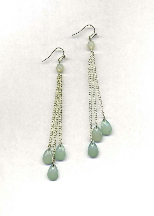 Three Mint Drops Earrings