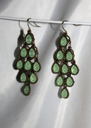 """Mint Jade"" Chandelier Earrings with Multi-Faceted Drops"