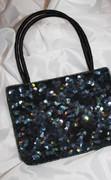 Black Jet Iris Sequined Chic Handbag