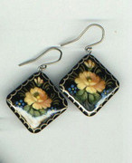 Square Russian Hand-Painted Yellow Flower Wooden Earrings