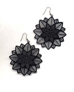 Black Filigree Flower Earrings