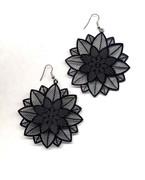 Black Filigree Flower Earrings