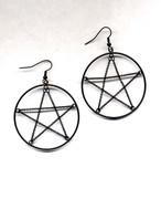Black Chain Star Hoop Earrings