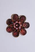 Topaz & Pink Flower Brooch Pin
